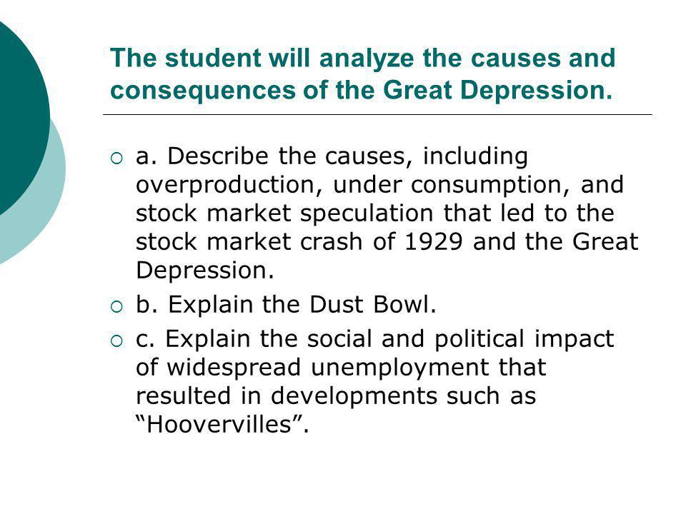The student will analyze the causes and consequences of the Great Depression.