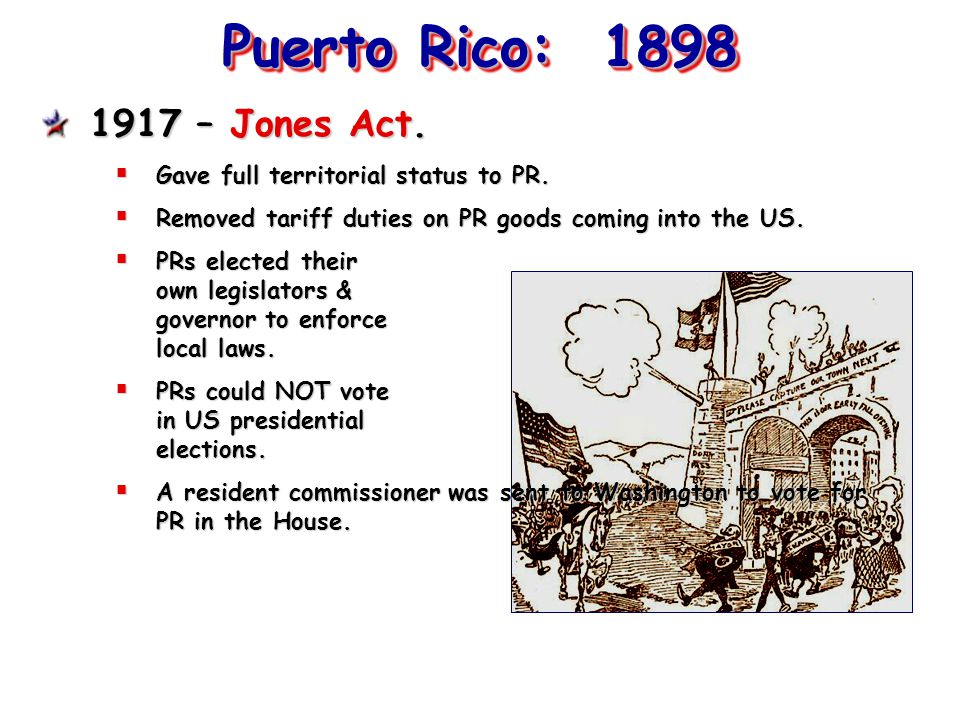 Puerto Rico: 1898 1917 – Jones Act.