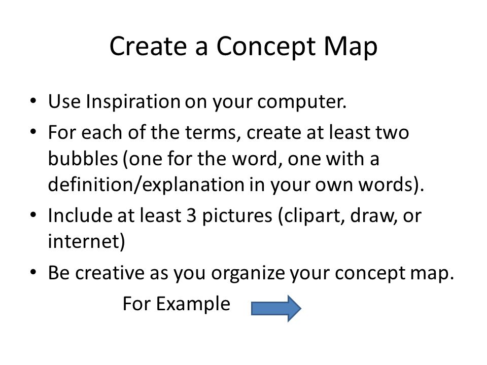 Create a Concept Map Use Inspiration on your computer.