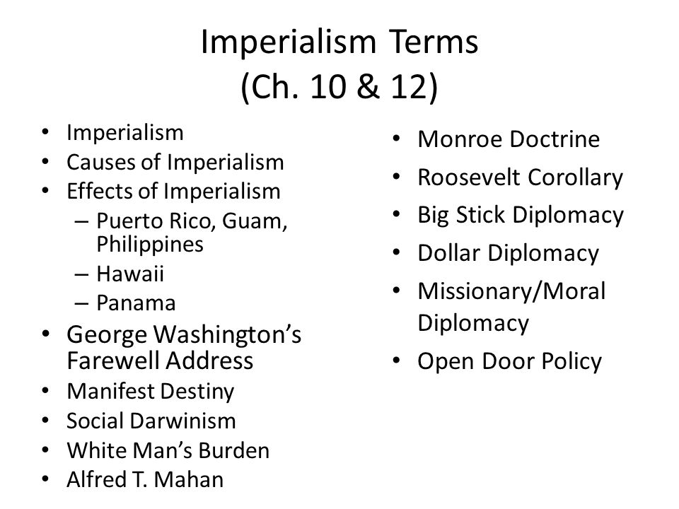 Imperialism Terms (Ch. 10 & 12)