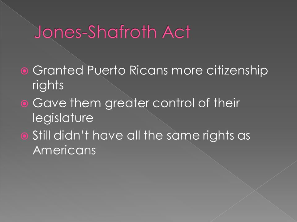 Jones-Shafroth Act Granted Puerto Ricans more citizenship rights