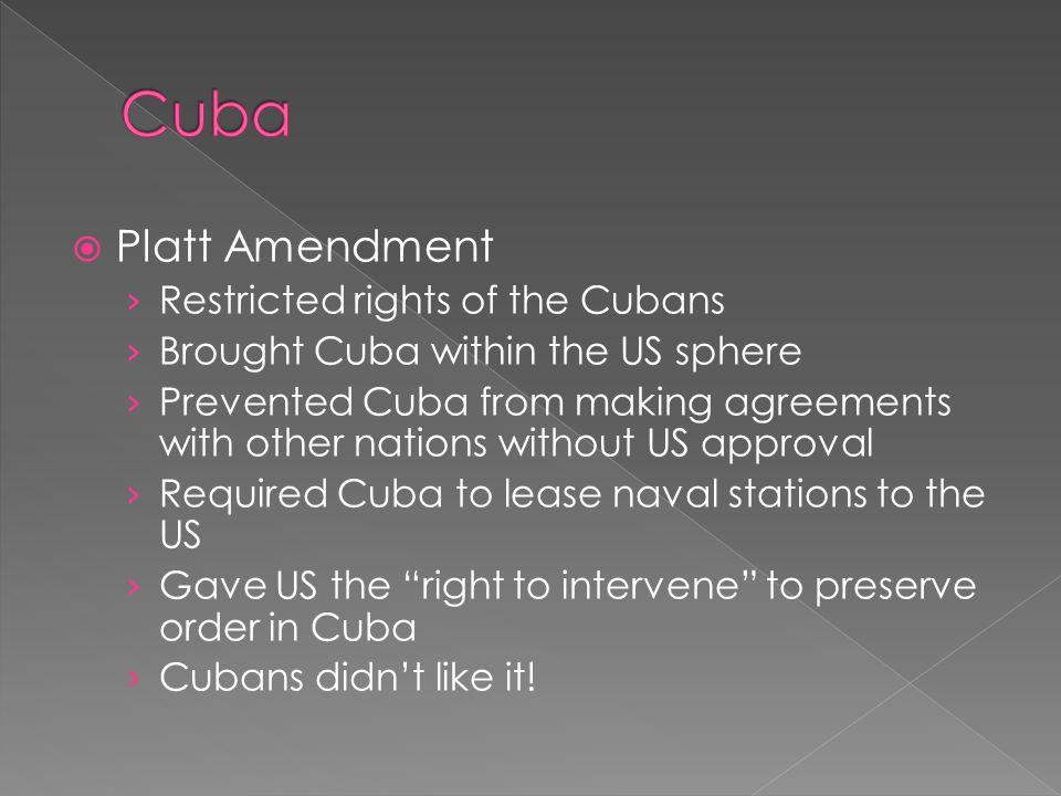 Cuba Platt Amendment Restricted rights of the Cubans