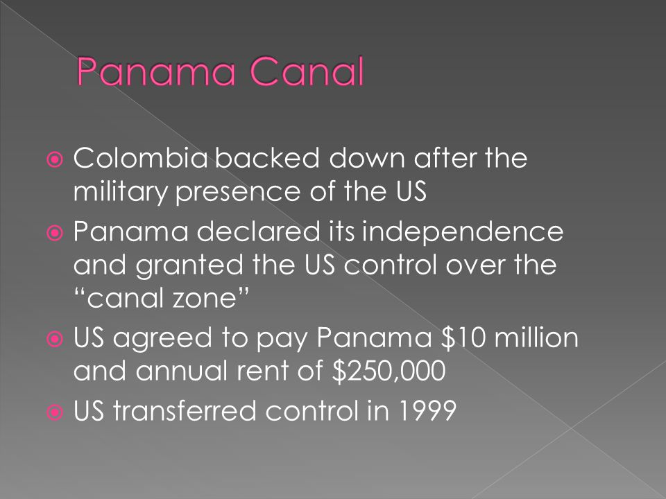 Panama Canal Colombia backed down after the military presence of the US.