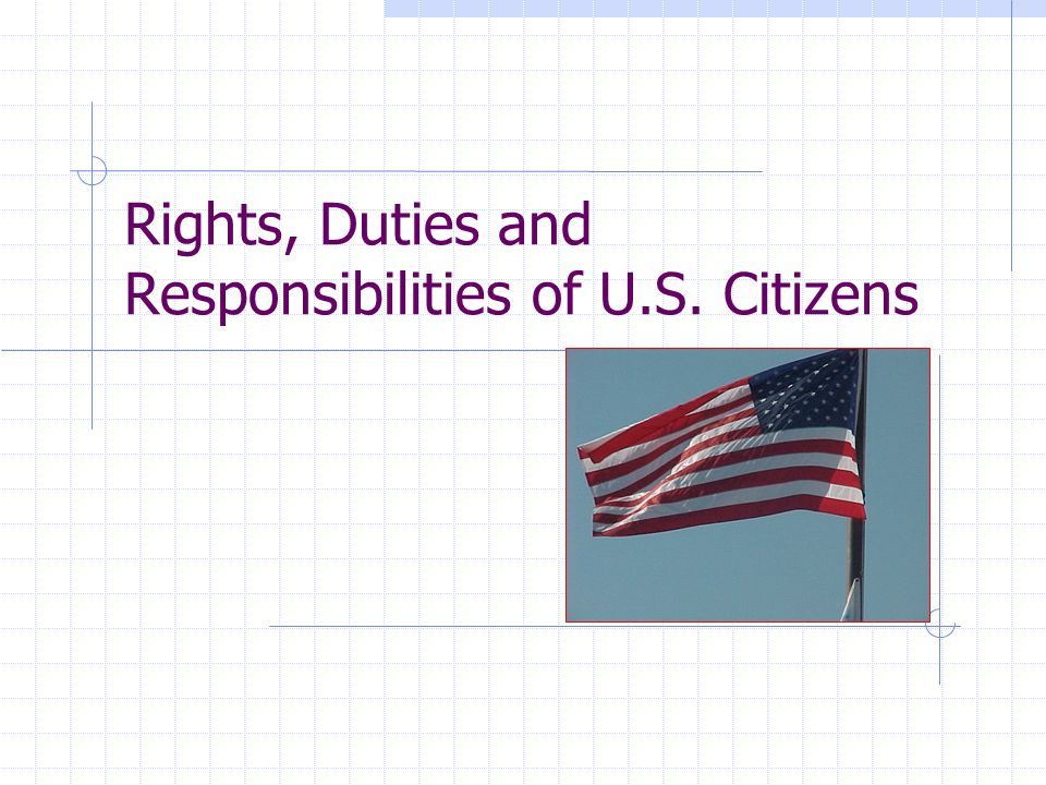 Rights, Duties and Responsibilities of U.S. Citizens