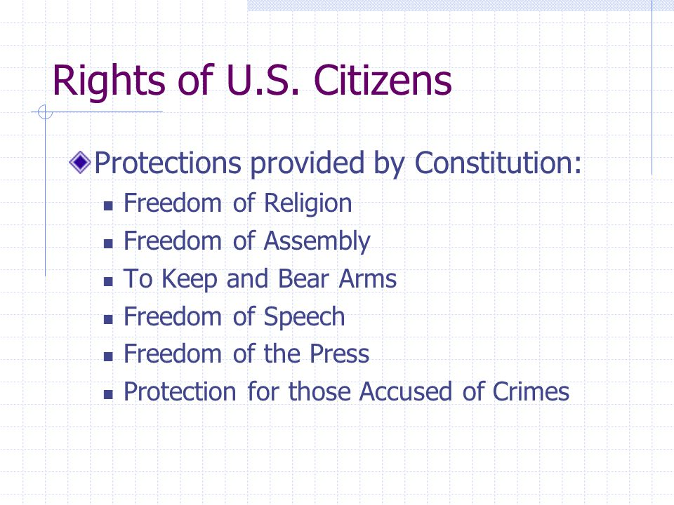 Rights of U.S. Citizens Protections provided by Constitution: