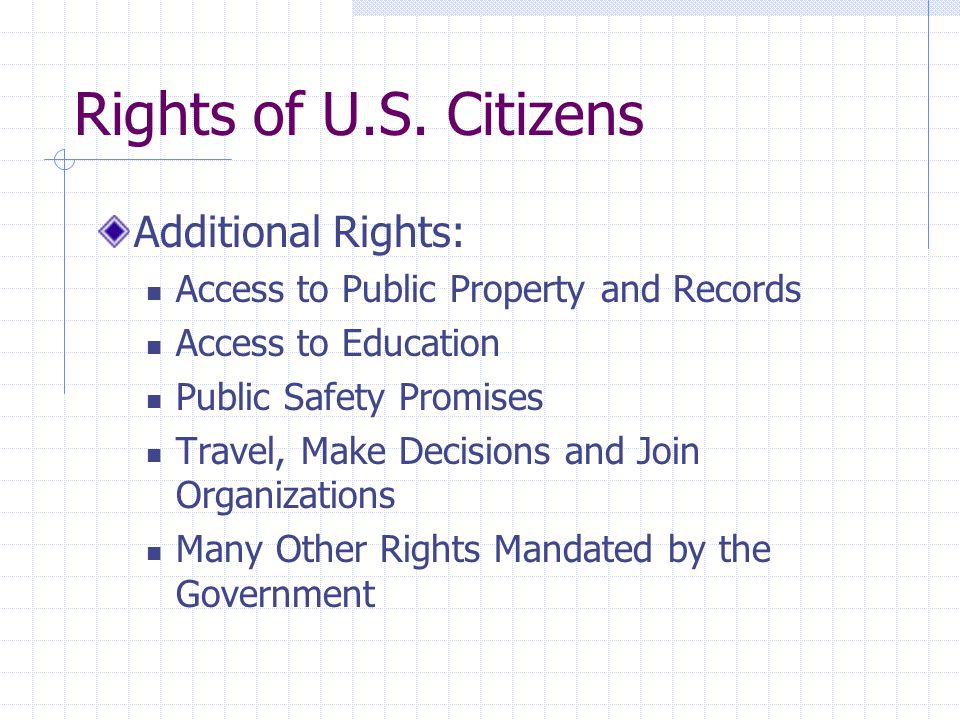 Rights of U.S. Citizens Additional Rights: