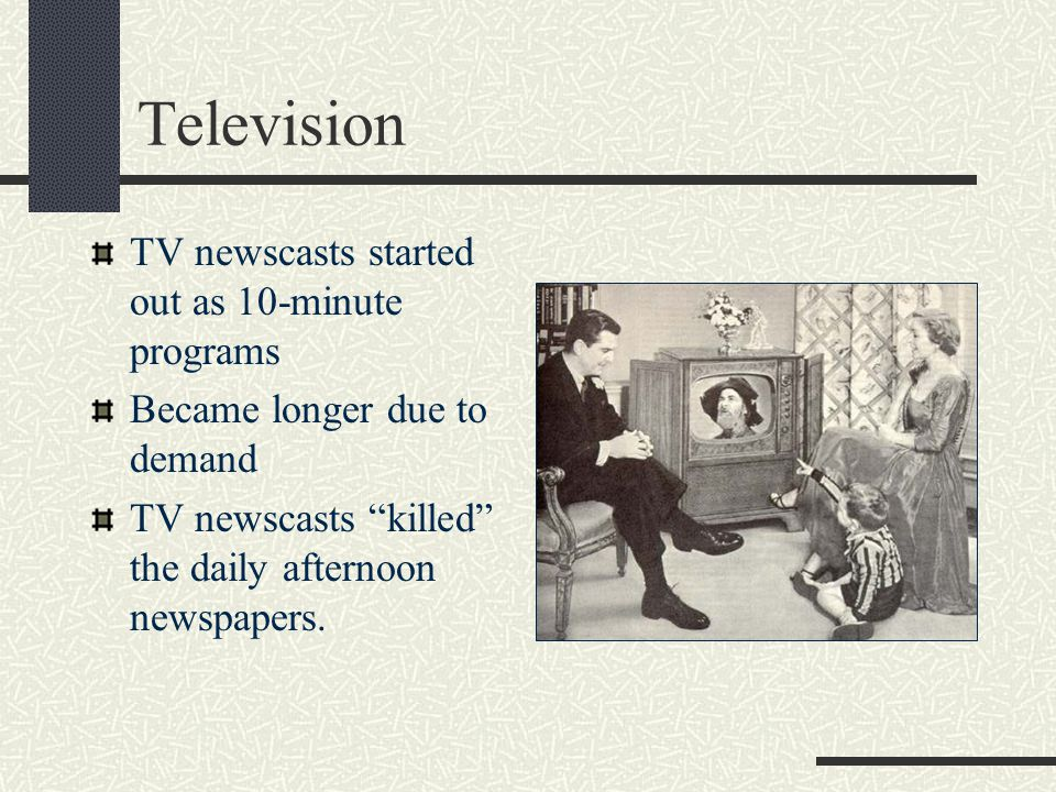 Television TV newscasts started out as 10-minute programs
