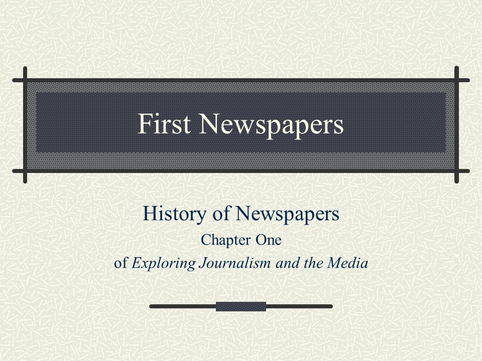 of Exploring Journalism and the Media
