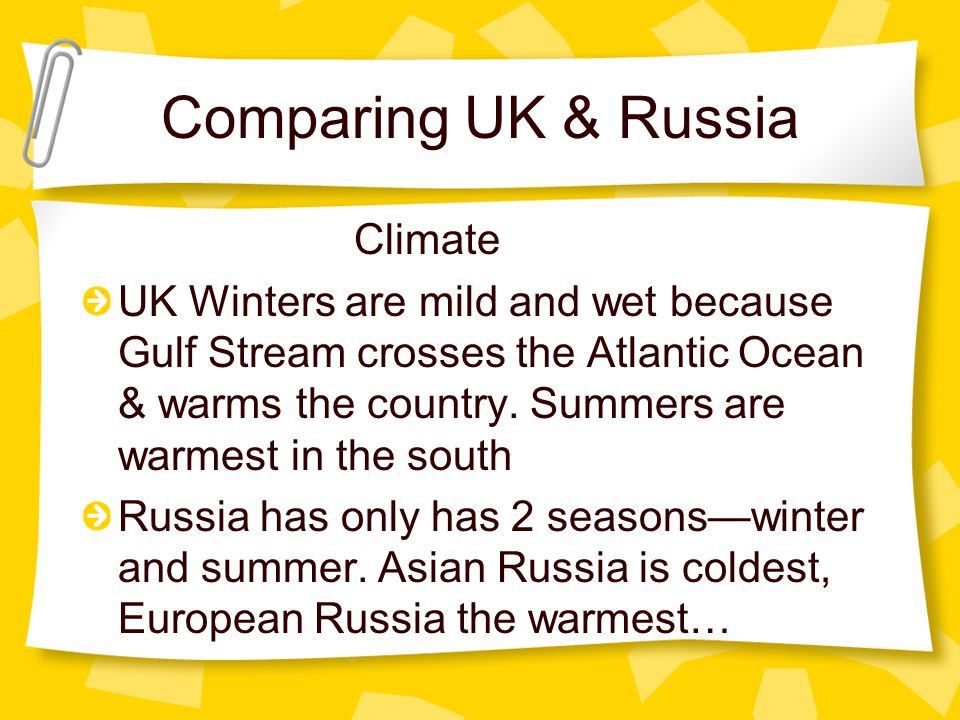 Comparing UK & Russia Climate