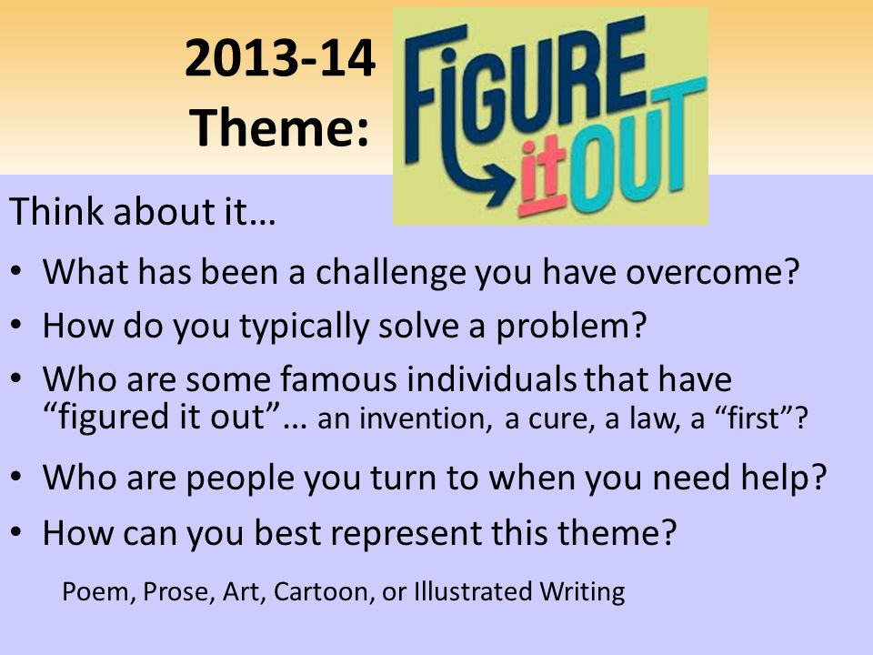2013-14 Theme: Think about it…