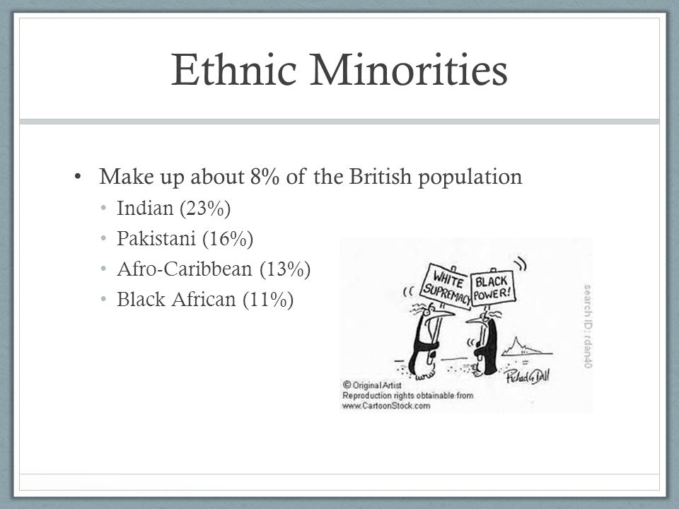 Ethnic Minorities Make up about 8% of the British population