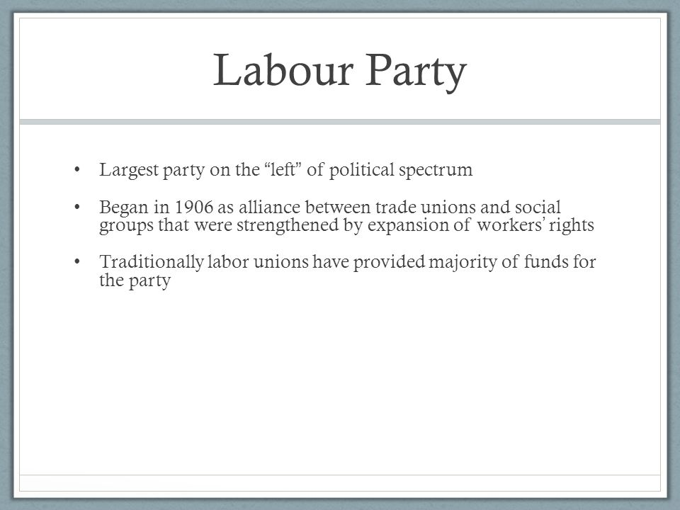 Labour Party Largest party on the left of political spectrum