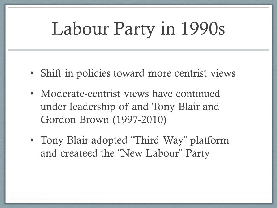 Labour Party in 1990s Shift in policies toward more centrist views