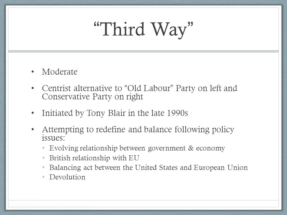 Third Way Moderate. Centrist alternative to Old Labour Party on left and Conservative Party on right.