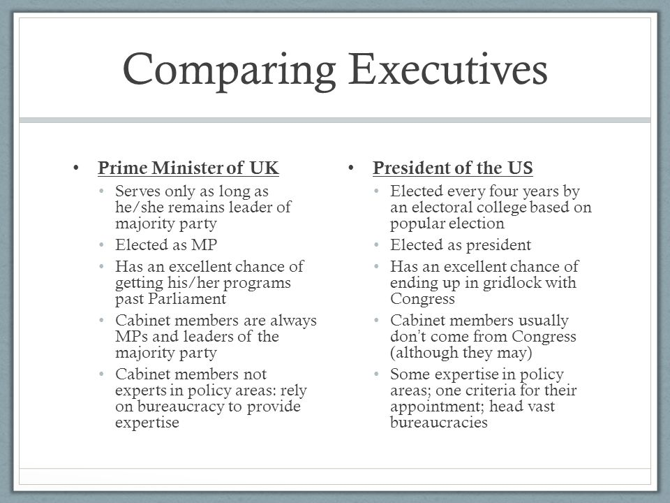 Comparing Executives Prime Minister of UK President of the US