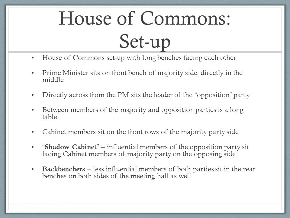 House of Commons: Set-up