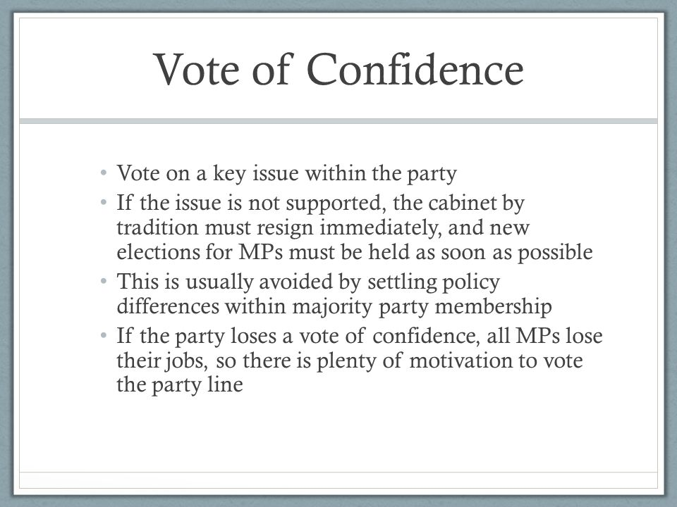 Vote of Confidence Vote on a key issue within the party
