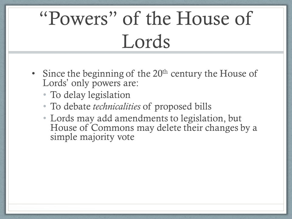 Powers of the House of Lords