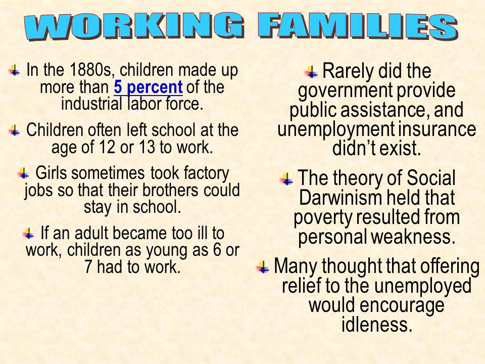 Children often left school at the age of 12 or 13 to work.