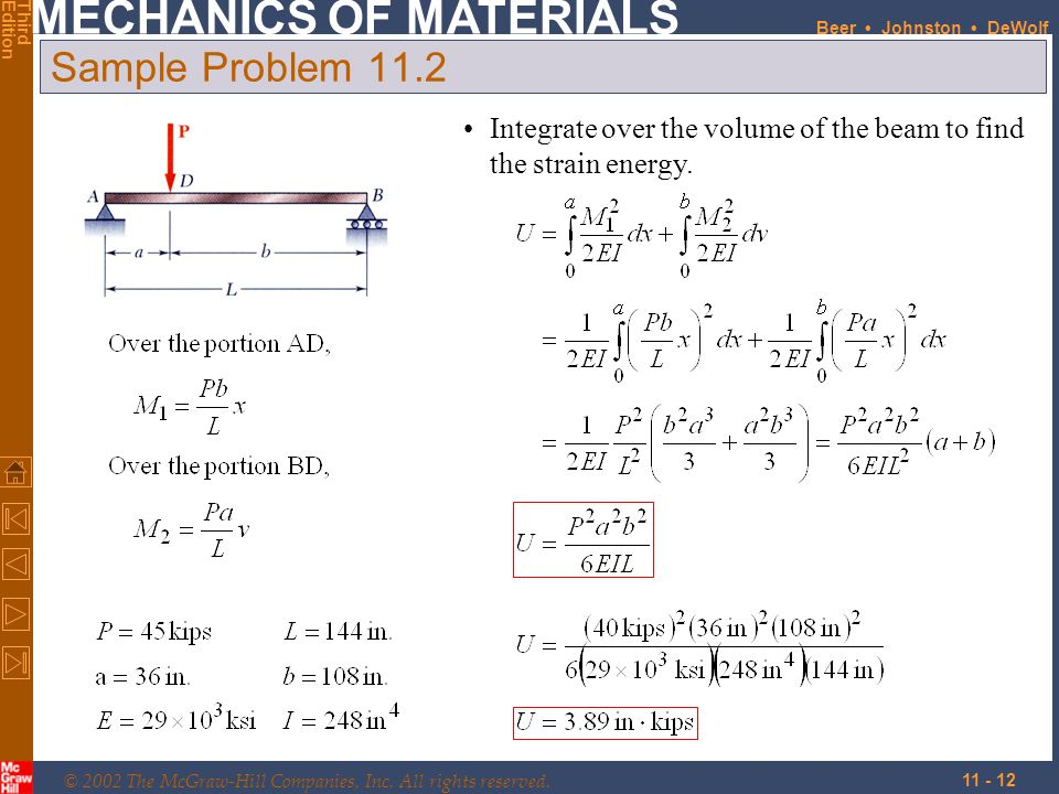 Sample Problem 11.2 Integrate over the volume of the beam to find the strain energy.