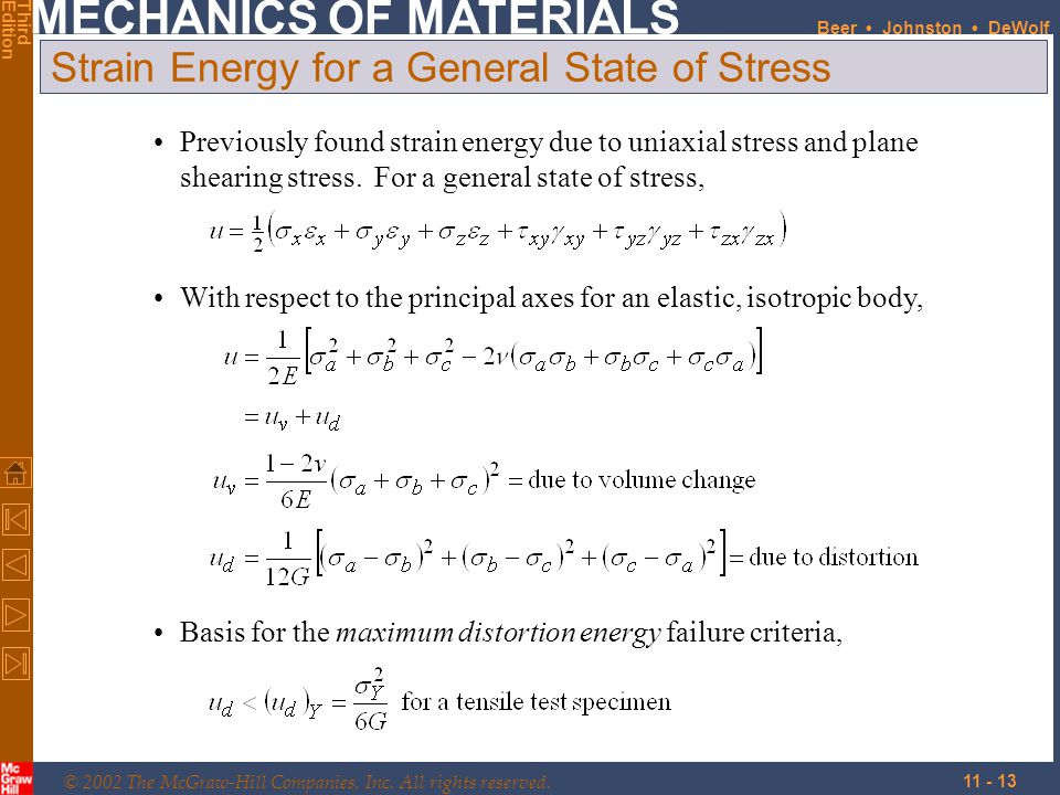 Strain Energy for a General State of Stress
