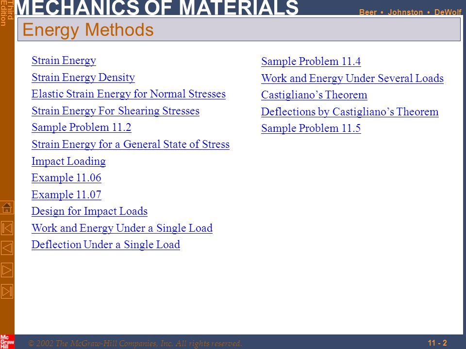 Energy Methods Strain Energy Sample Problem 11.4 Strain Energy Density