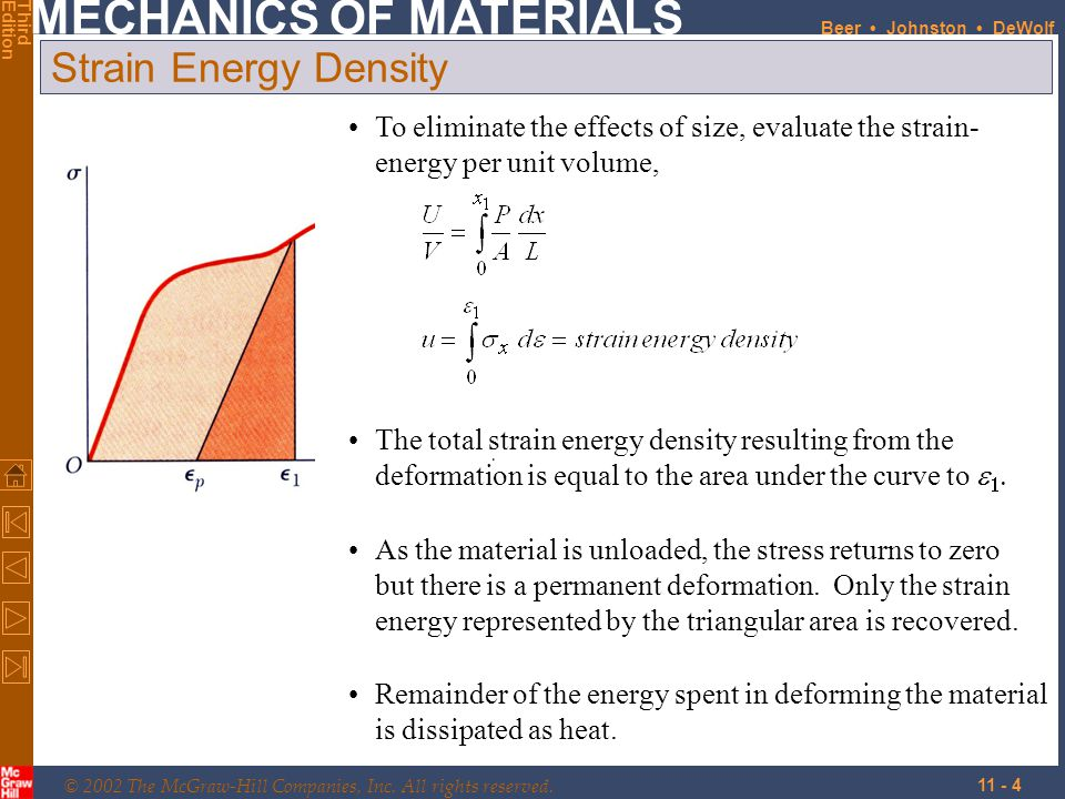 Strain Energy Density To eliminate the effects of size, evaluate the strain- energy per unit volume,