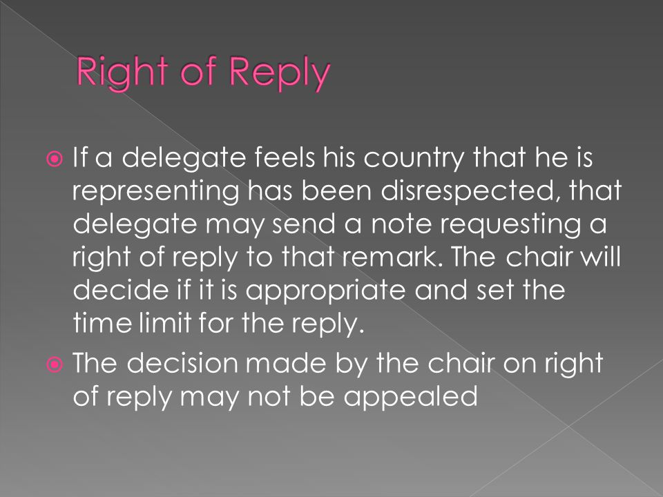 Right of Reply