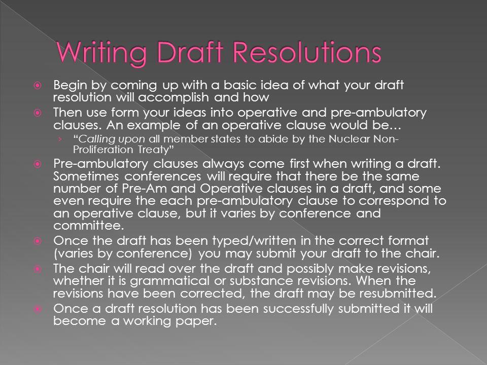 Writing Draft Resolutions