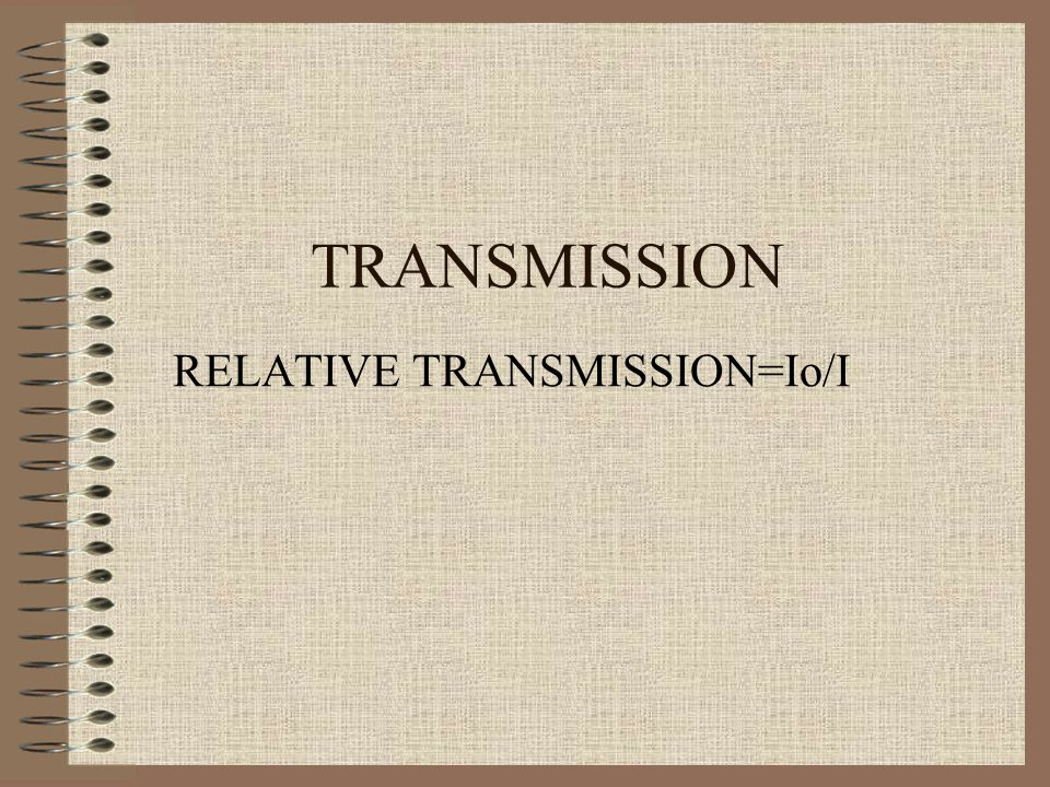 RELATIVE TRANSMISSION=Io/I