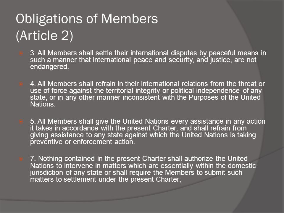 Obligations of Members (Article 2)