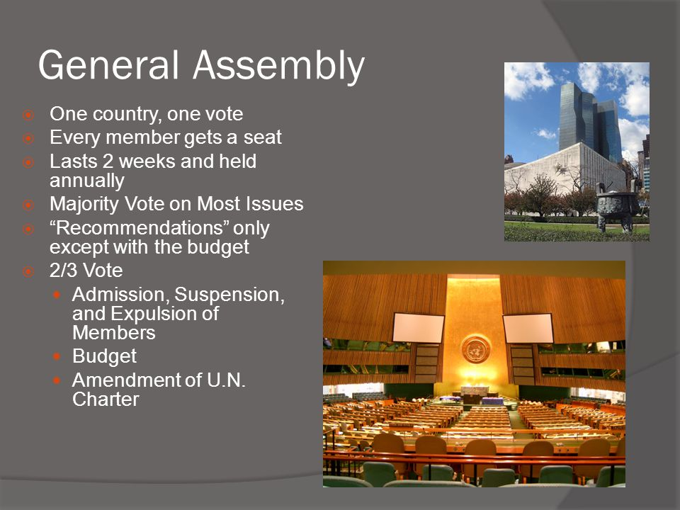 General Assembly One country, one vote Every member gets a seat
