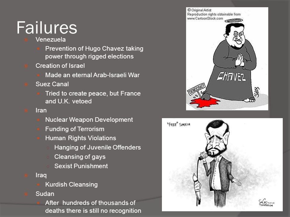 Failures Venezuela. Prevention of Hugo Chavez taking power through rigged elections. Creation of Israel.