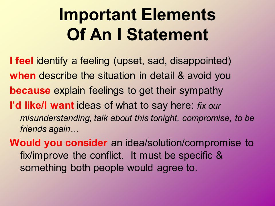 Important Elements Of An I Statement