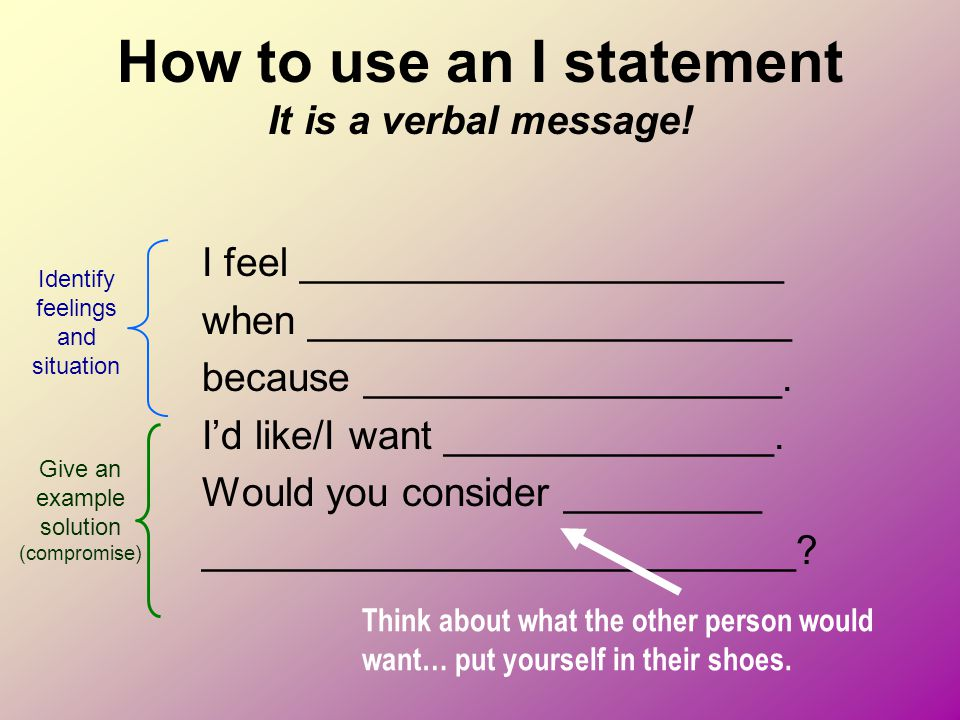 How to use an I statement It is a verbal message!