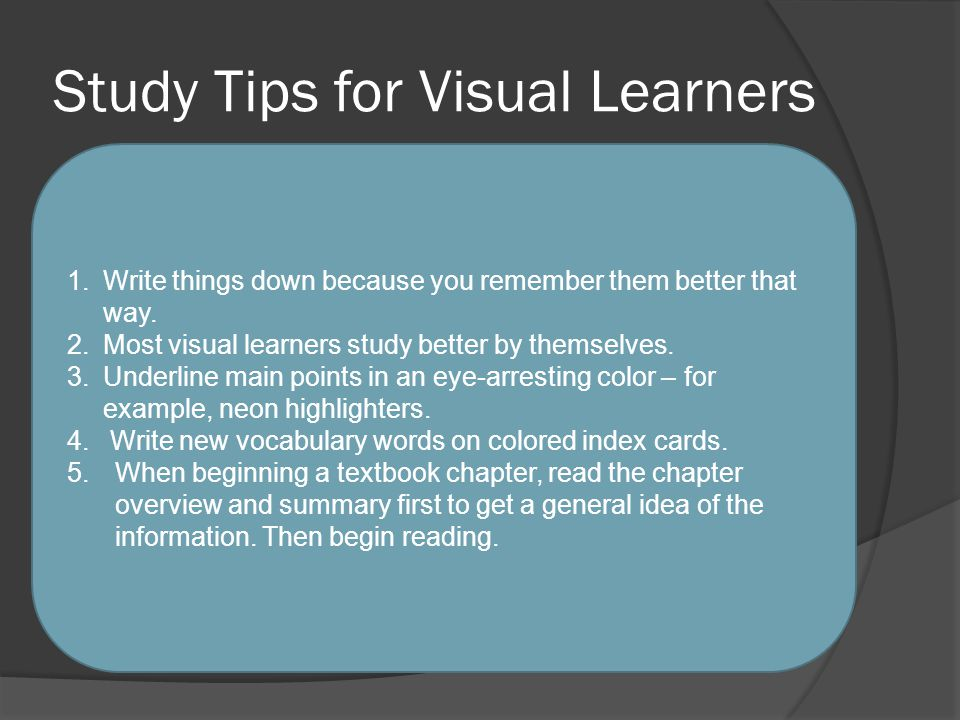 Study Tips for Visual Learners