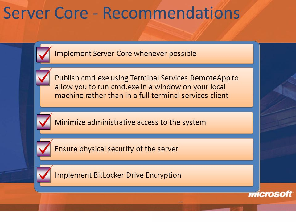 Server Core - Recommendations