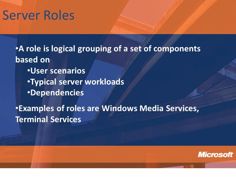 Server Roles A role is logical grouping of a set of components based on. User scenarios. Typical server workloads.