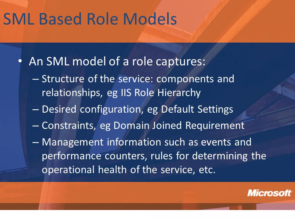 SML Based Role Models An SML model of a role captures: