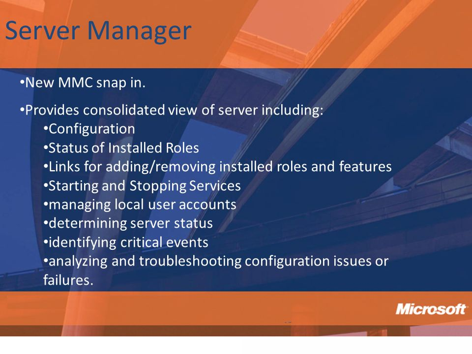 Server Manager New MMC snap in.