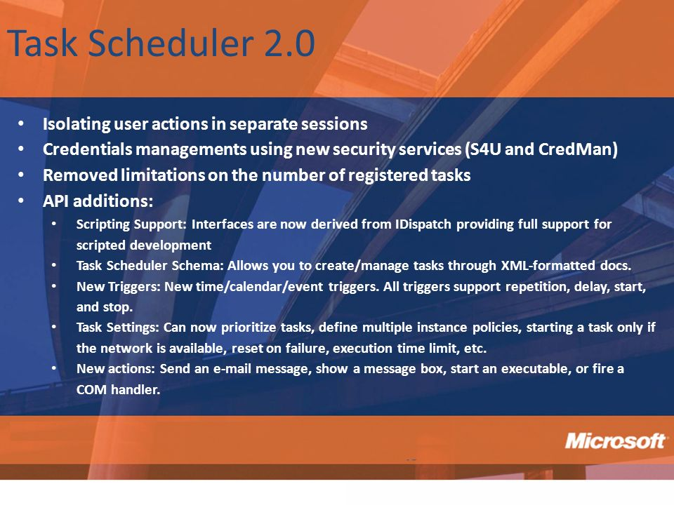 Task Scheduler 2.0 Isolating user actions in separate sessions