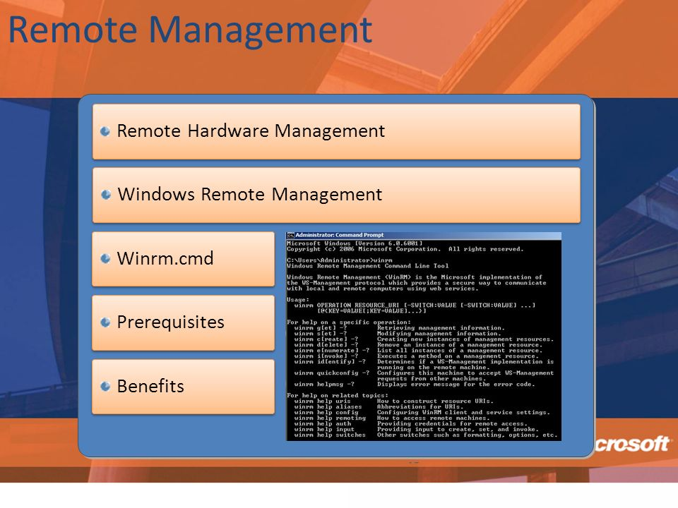 Remote Management Remote Hardware Management Windows Remote Management