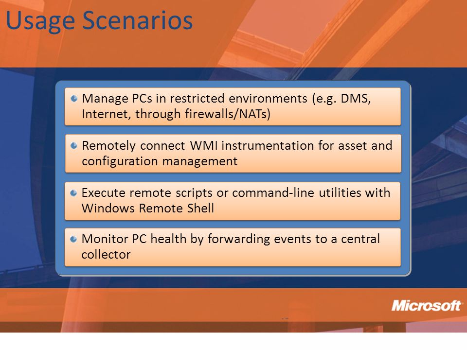 Usage Scenarios Manage PCs in restricted environments (e.g. DMS, Internet, through firewalls/NATs)