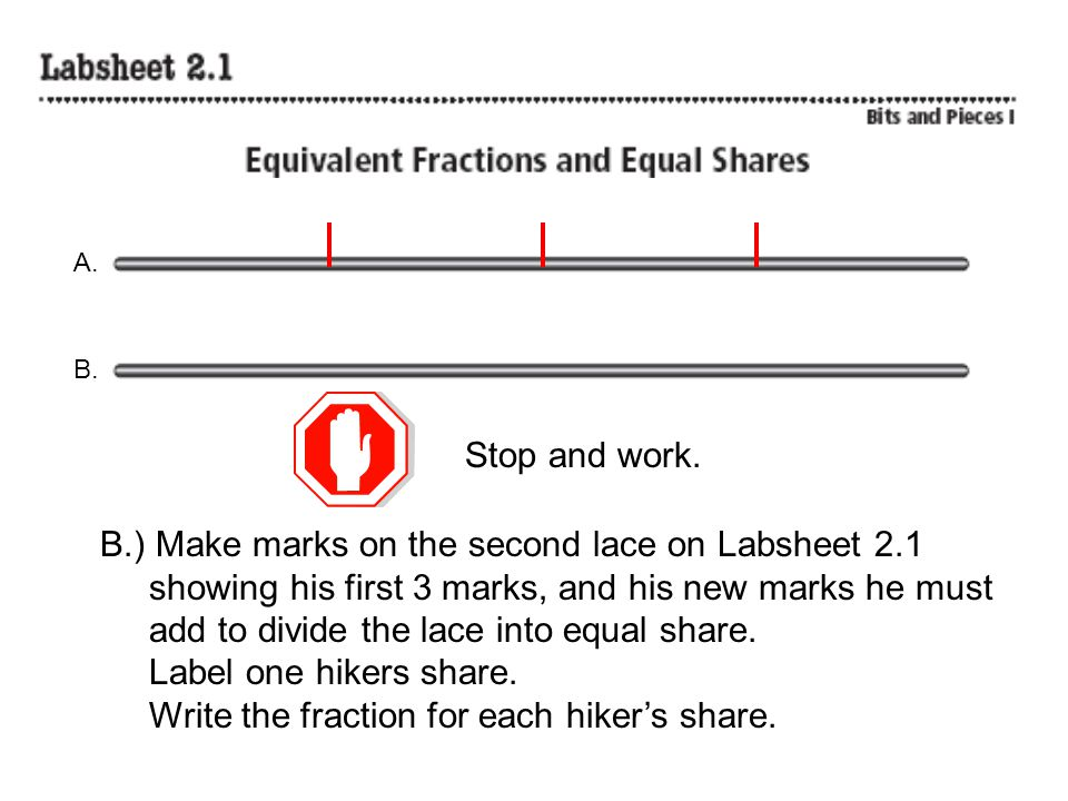 B.) Make marks on the second lace on Labsheet 2.1
