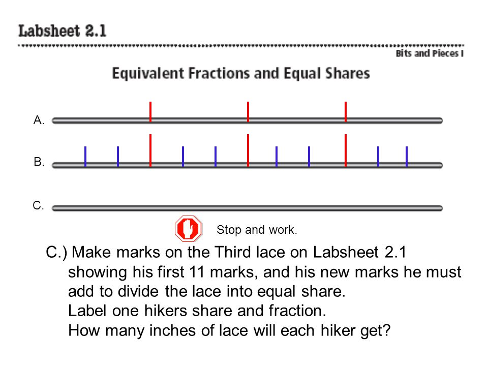 C.) Make marks on the Third lace on Labsheet 2.1