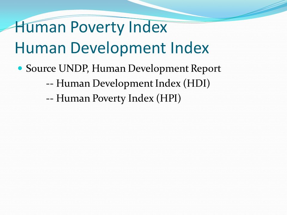 Human Poverty Index Human Development Index