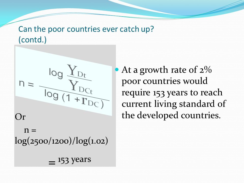 Can the poor countries ever catch up (contd.)