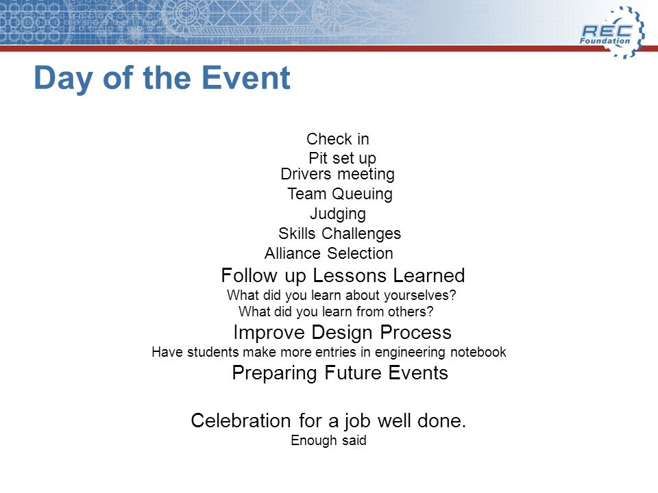 Day of the Event Follow up Lessons Learned Improve Design Process