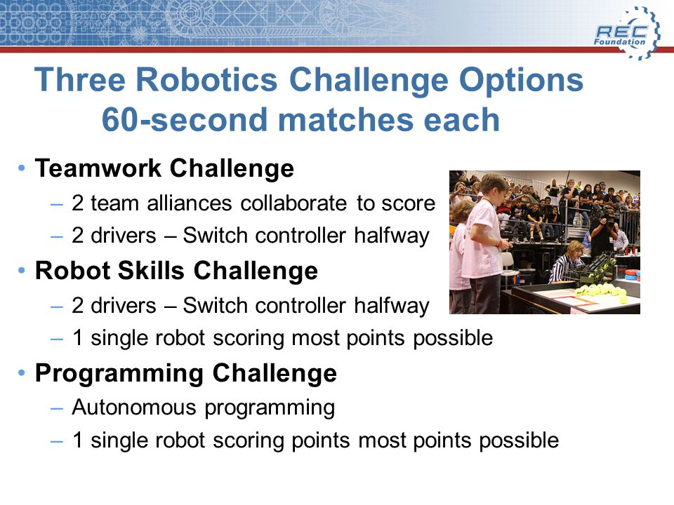 Three Robotics Challenge Options 60-second matches each