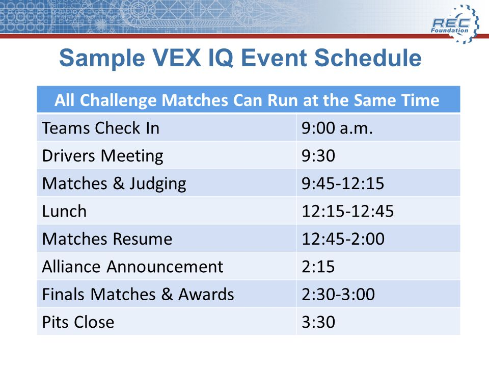 Sample VEX IQ Event Schedule